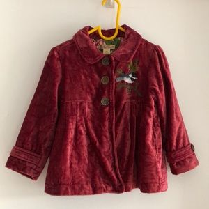 NWOT red velvet jacket for 3-4T girls